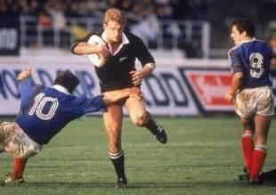 Kiwi wing John Kirwan crashes through the tackle of Franck Mesnel, New Zealand v France, World Cup final, Eden Park, June 20 1987.