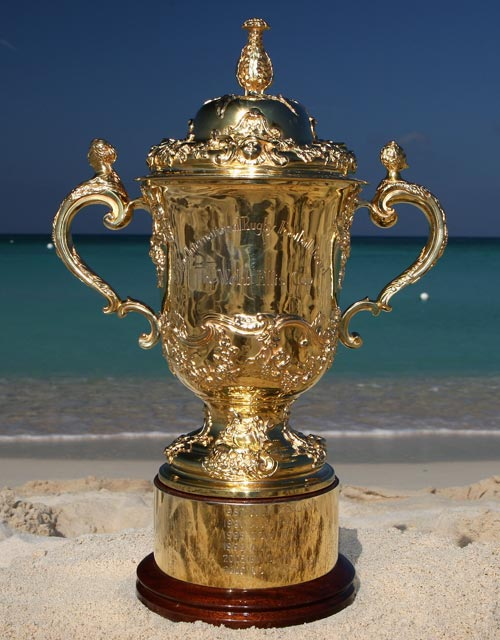 A general view of the Rugby World Cup trophy