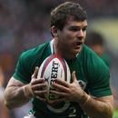 Ireland centre Gordon D'Arcy claims the ball