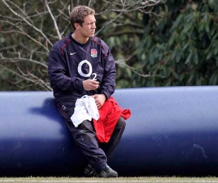 England fly-half Jonny Wilkinson takes a break in training