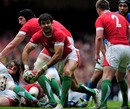 Wales scrum-half Mike Phillips gets the pass away from a ruck