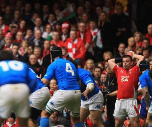 Welsh hooker Matthew Rees prepares to throw into the lineout in their Six Nations clash against Italy at the Millenium Stadium, Cardiff, Wales, March 20, 2010