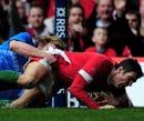 James Hook touches down despite Mirco Bergamasco's best efforts