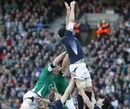 Scotland's Jim Hamilton beats Paul O'Connell and Donncha O'Callaghan to the lineout