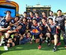Japan celebrate winning the Shield Final at the Adelaide 7s