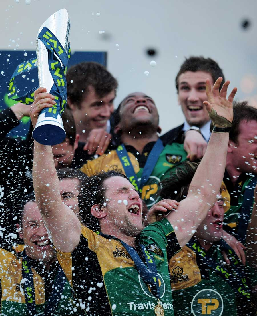 Northampton captain Phil Dowson celebrates his side's Anglo-Welsh Cup triumph