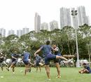 The Samoan IRB Sevens team warms up