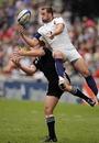 France's Remi Vaquin beats New Zealand's Ben Souness to a high ball