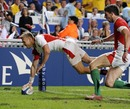 England's Nick Royle touches down against Wales