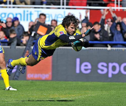 Clermont fly-half Brock James dives over