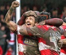 Gloucester's Rory Lawson celebrates his side's victory over Saracens