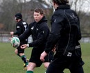 Northampton skipper Dylan Hartley pops a pass to Neil Best