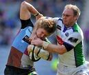 Leeds' Lee Blackett tackles Harlequins' David Strettle
