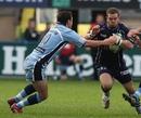Cardiff No.10 Dai Flanagan tackles Bristol's Rob Higgitt