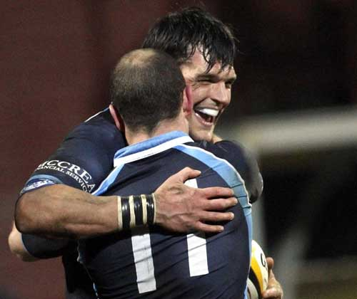 Glasgow's Rob Dewey celebrates with team-mate Hefin O'Hare