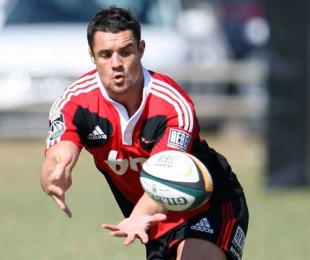 Crusaders fly-half Dan Carter collects a pass during training at George Campbell Technical High School, Durban, April 26, 2010