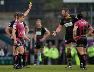 Wasps' Simon Shaw is shown a yellow card