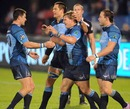 The Bulls' Jacques-Louis Potgieter is congratulated on scoring a try