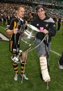 London Wasps' Josh Lewsey and Danny Cipriani pose with the 2007-08 Guinness Premiership trophy
