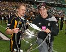 London Wasps' Josh Lewsey (left) and Danny Cipriani pose with the 2007-08 Guinness Premiership trophy