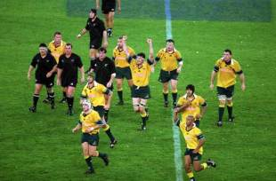 John Eales celebrates the final whistle
