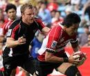 Japan wing Kaoru Matsushita breaks away to score