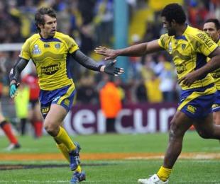 Clermont's Napolioni Nalaga congratulates team-mate Brock James