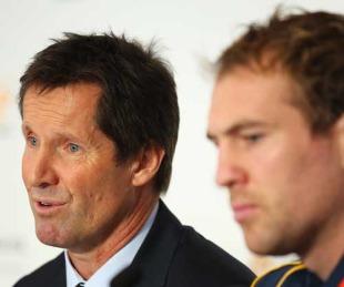 Australia coach Robbie Deans and captain Rocky Elsom, Sydney City Lexus, Sydney, Australia, May 19, 2010