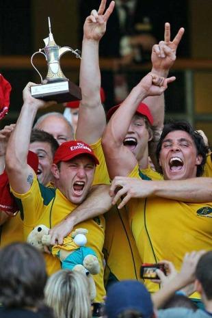 Australia celebrate winning the London 7s title, IRB Sevens World Series, Twickenham, London, England, May 23, 2010