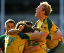 Australia's Henry Vanderglas celebrates winning the London 7s title