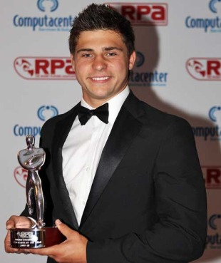 Leicester's Ben Youngs poses with the RPA Young Player of the Year award