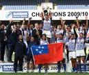 Samoa celebrate winning the IRB Sevens Series