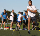 Victor Vito leads an All Blacks sprinting session