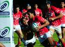 Tonga's Seilame Tuku'afu scores against South Africa