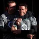Geordan Murphy shares a joke with Ronan O'Gara during Ireland's training session at Mt Smart Stadium, Auckland