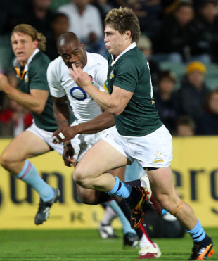 James O'Connor chases down a kick during the match between the Australian Barbarians and England, Members Equity Stadium, Perth, June 8, 2010
