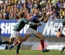 France's Aurelien Rougerie claims the ball