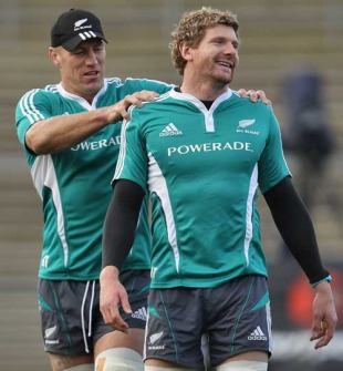 New Zealand's Brad Thorn and Adam Thomson, All Blacks training session, Carisbrook, Dunedin, June 18, 2010