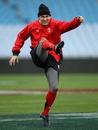 Wales' Stephen Jones puts boot to ball