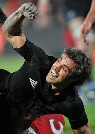 New Zealand's Conrad Smith celebrates a try from Keven Mealamu, New Zealand v Wales, Carisbrook, Dunedin, New Zealand, June 19, 2010