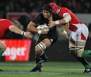 New Zealand's Victor Vito stretches the Wales defence