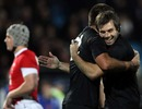 New Zealand's Conrad Smith and Richard Kahui celebrate victory over Wales