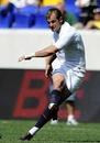 England Saxons fly-half Stephen Myler slots a kick
