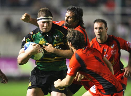 Dylan Hartley in action for Northampton Saints in the 2008-09 European Challenge Cup