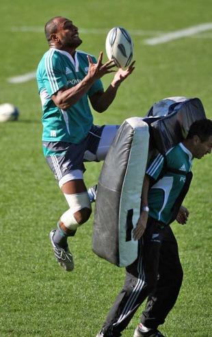 New Zealand's Joe Rokocoko claims a high ball in training, All Blacks training session, Waikato Stadium, Hamilton, New Zealand, June 22, 2010