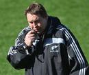 New Zealand assistant coach Steve Hansen casts an eye over his pack
