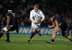 England centre Matt Tait makes a break against the New Zealand Maori