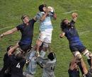 Argentina's Rimas Alvarez Kairelis claims a lineout