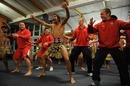 Wales' Craig Mitchell, Jonathan Davies, Bradley Davies and Richie Rees learn a Haka