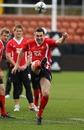 Wales fly-half Stephen Jones kicks long